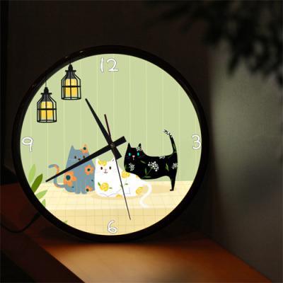 nf308-LED시계액자35R_고양이들의휴식시간