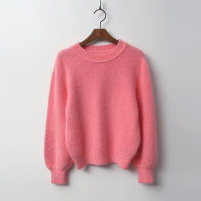 Angora Wool Balloon Crop Sweater