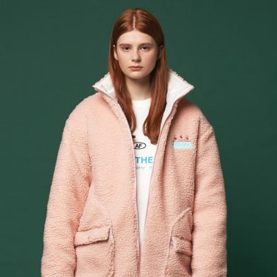 후리스 투웨이 포켓 양털 누빔 자켓 (핑크)