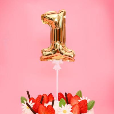 생일 케이크 풍선 데코픽 (골드) 1