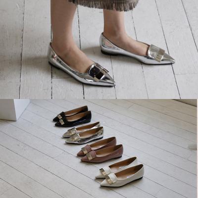 [애슬릿]에나멜 스틸레토 여성 플랫 슈즈 1cm
