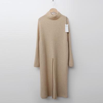Maille Cashmere Turtle Slit Long Dress