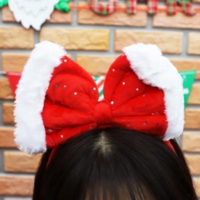 크리스마스 리본 머리띠 (레드)