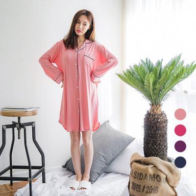 [쿠비카]가슴 포켓 셔츠형 원피스 여성잠옷 W357