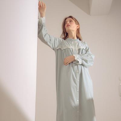 Angel 단추 레이스 면잠옷 원피스 파자마