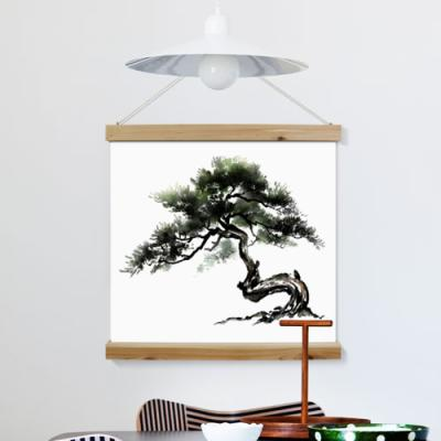 ah272-우드스크롤_60CmX60Cm-산수화절벽위소나무