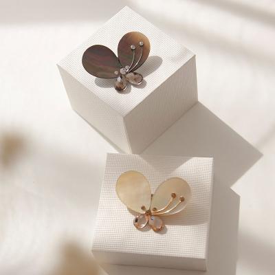 바이데이지 Bb0294 큐빅 자개 나비 브로치