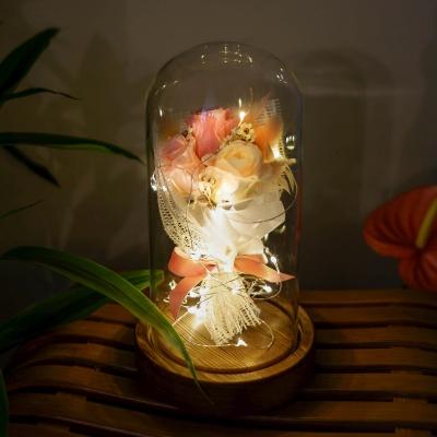 프리저브드 미니 꽃다발 유리돔 (피치)