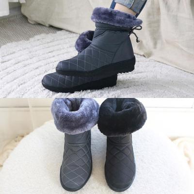 [애슬릿]퀼팅 안감 퍼 여자 방한 패딩 부츠 4.5cm