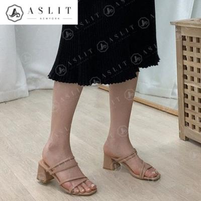 [애슬릿]여성 사선 슬림스트랩 여름 뮬힐 슬리퍼 6cm