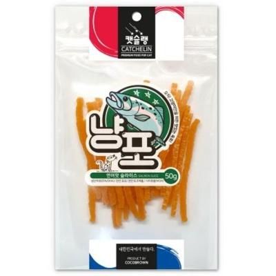 고양이 간식 육포타입 연어맛 슬라이스 냥포 50g