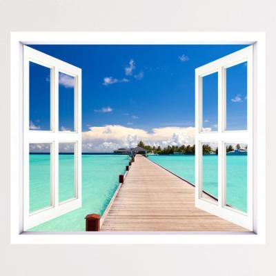 cv677-푸른하늘아래휴양지_창문그림액자(중형)