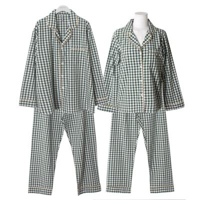 [쿠비카]배색 체크 순면 투피스 커플잠옷 WM272