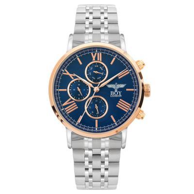 보이런던 칼렙-블루 남성 메탈 손목시계