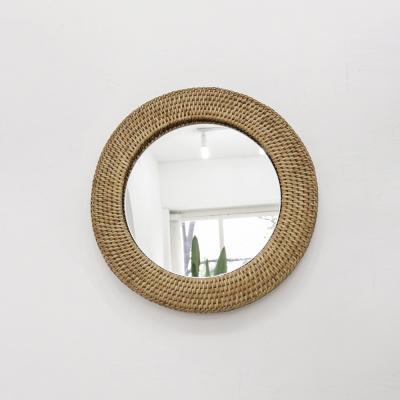 포홈 라탄 원형 거울 (중)