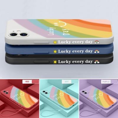 아이폰12 미니 11 pro max 무지개 컬러 스트랩 케이스