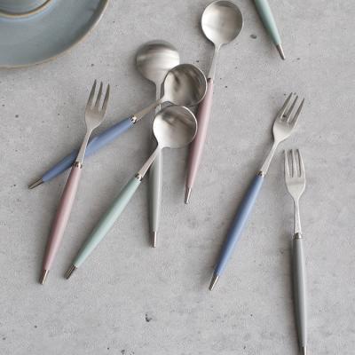 (파스텔실버) 티스푼 티포크 - 4color