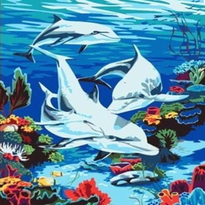 [DIY명화]B22 돌고래가족 size 50*40cm