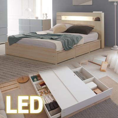 LED조명+콘센트 침대 Q (양면매트) 넉다운서랍 KC185