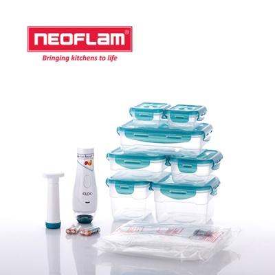네오플램 클락 전동 진공 밀폐용기 9종세트 (진공비닐팩 12p 증정)