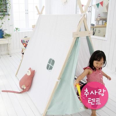 (추사랑텐트)[꿈비 텐트] 핑크그린 체크 주니어 삼각인디언텐트