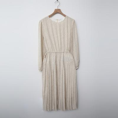 Dot Cotton Shirring Dress