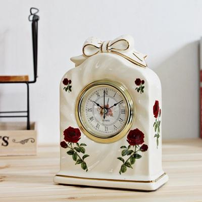 도자기 리본 알람탁상시계