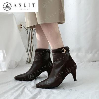 [애슬릿]여성 스트랩 엣지 기모 앵클 부츠 7cm
