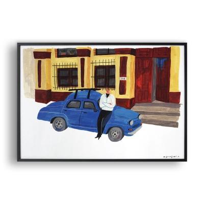 파란색 자동차 / 일러스트 액자