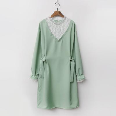 White Lace Ribbon Dress