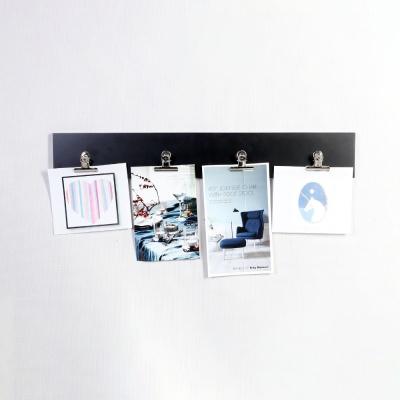 우드 스트립 4P 메탈 클립 집게 사진 그림 걸이 블랙