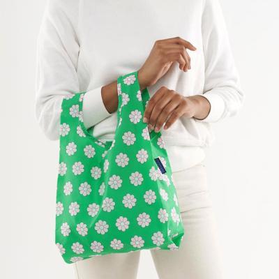 [바쿠백] 소형 베이비 에코백 장바구니 Green Daisy