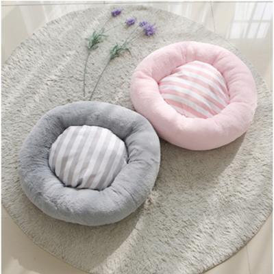 스트라이프 도넛 방석 M(핑크/그레이) 강아지방석