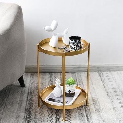 아파트32 홈 골드 철제 테이블/ 투라운드 티테이블