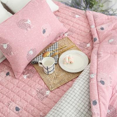 알러지케어 꼬마양 차렵이불 베개 패드-핑크