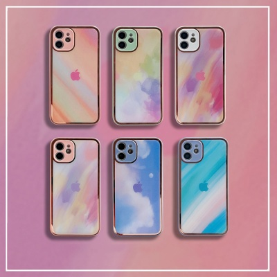 아이폰12 11 pro max xs 8 수채화 감성 글라스 케이스