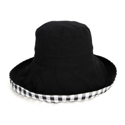 [디꾸보]페미닌 이너체크 플로피 햇 모자 DCH-JAN309