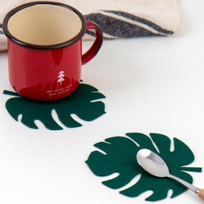 미니멀 그린 나뭇잎 컵받침 2개1세트