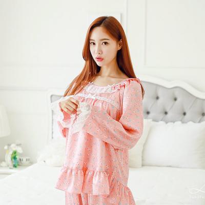 [쿠비카]넥 레이스 샤무즈 라운드 투피스 잠옷 W072