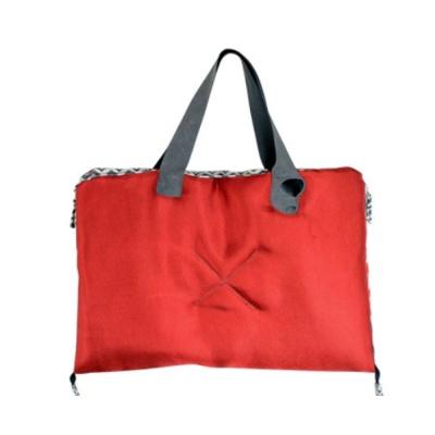 애견 외출용 휴대용 가방 겸용 쿠션 지그재그 레드