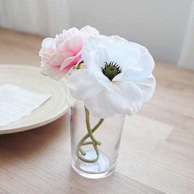 화이트아네모네&핑크피오니 한송이