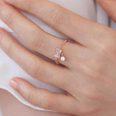 Mujer bonita Rings 예시카 로즈골드 체인 반지