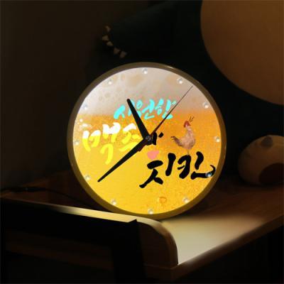 ng339-LED시계액자25R_시원한맥주와치킨