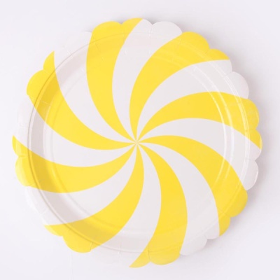 롤리팝 파티접시 23cm - 옐로우(6입)