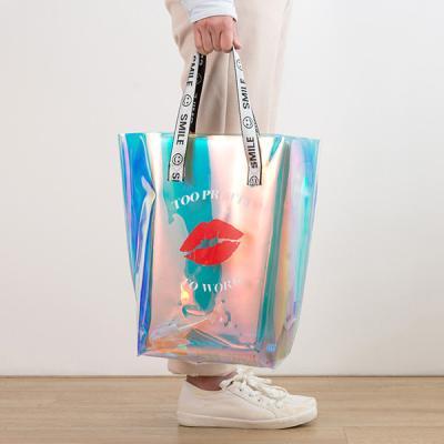 여행 여름바캉스 PVC 홀로그램 방수 투명비치백 KISS