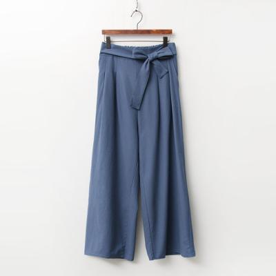 Ribbon Cotton Wide Pants