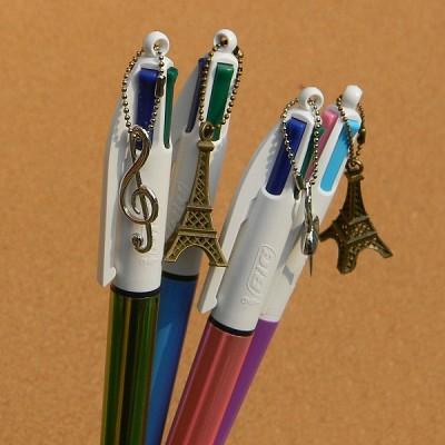 [BIC] 깜찍한 악세사리가 매달린 4색 유성볼펜-프랑스 빅 Multi Pen Charmy HA123-2
