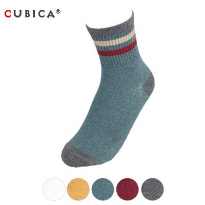 [쿠비카]컬러 3선 밴드 배색 중목 여성양말 CAS-SCS096