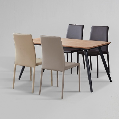 쿠니 무늬목 식탁 세트A 1400 + 의자 4개포함 (착불)