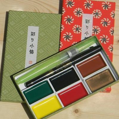 [Kuretake] 고체케익 彩り小箱-일본 쿠레다케 수채화물감+붓 세트 IRODORI KOBAKO F122-3